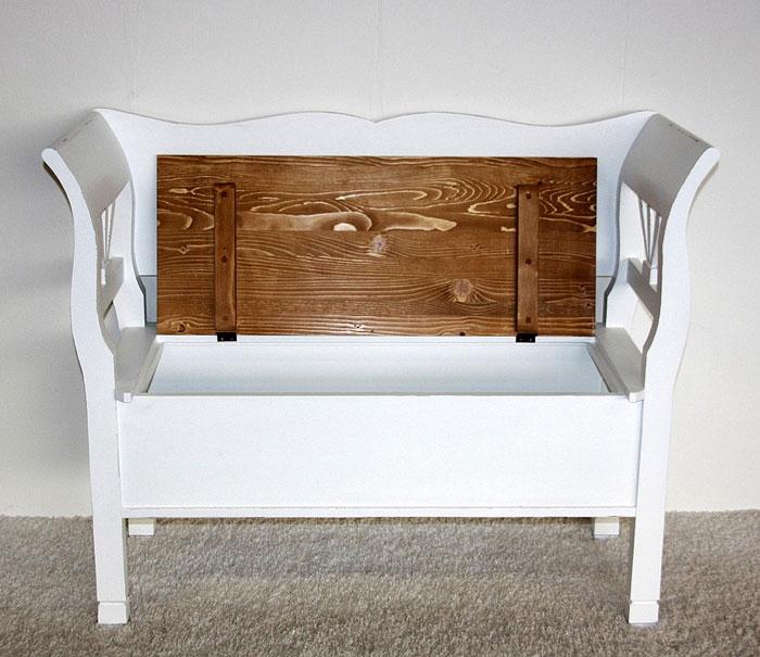 Sitzbank Fichte massiv Holz weiß shabby antik gewachst abgesetzt