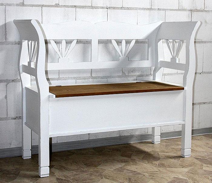 Sitzbank mit Rückenlehne weiß shabby antik gewachst abgesetzt