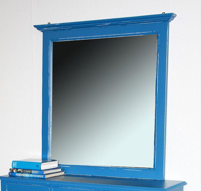 Wandspiegel Fichte massiv Holz blau weiss shabby