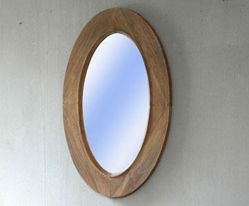 Spiegel oval mit Massivholzrahmen Teak unbehandelt