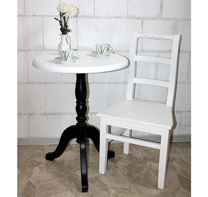 Teetisch Fichte massiv Holz schwarz weiß lackiert
