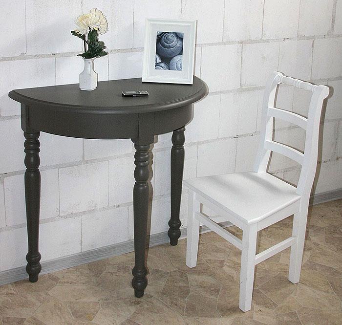 Wandtisch halbrund Fichte Holz massiv grau lackiert