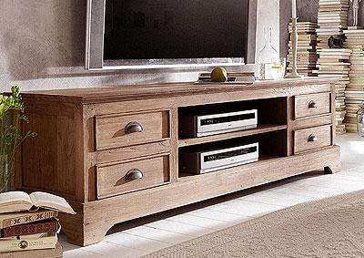 TV-Lowboard Teak Holz massiv Oberfläche unbehandelt