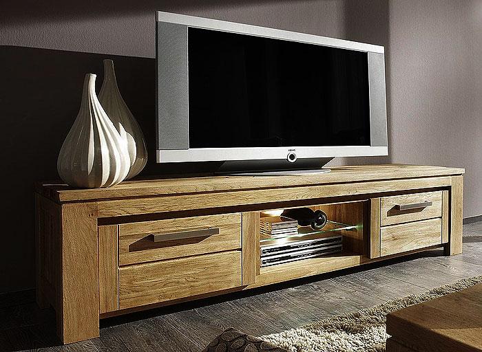 TV-Lowboard Balkeneiche massiv Holz Oberfläche geölt - Samson