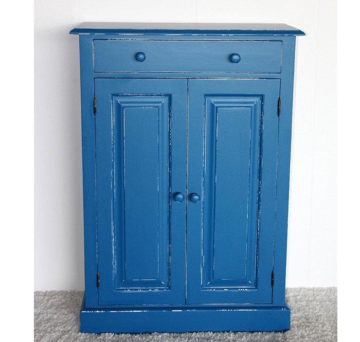 Vertiko blau weiß shabby Fichte massiv Holz