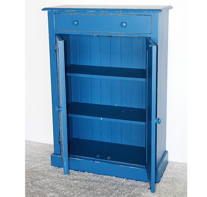 Vertiko blau weiss shabby Fichte massiv Holz