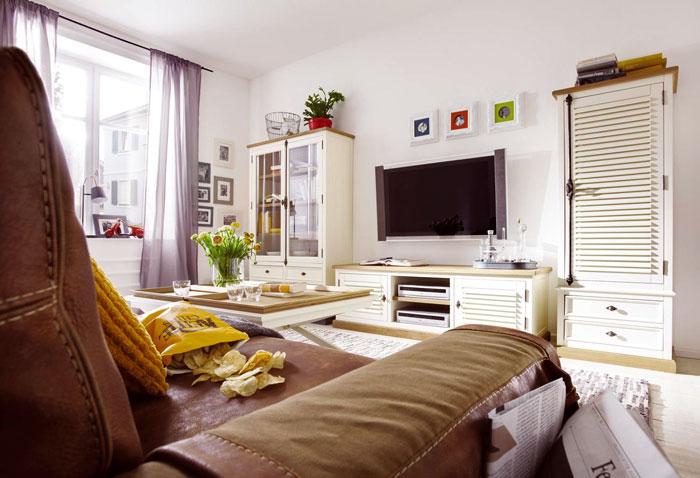 Wohnzimmer Möbel massiv Pinie Wildeiche creme shabby