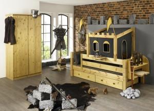 Kinderbett Kleiderschrank Massivholz Ritterburg