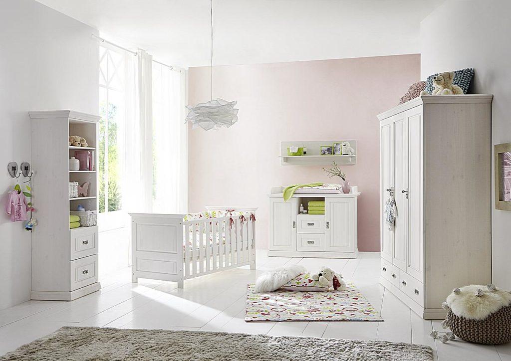 Babyzimmer Odette Kiefer massiv weiß lackiert