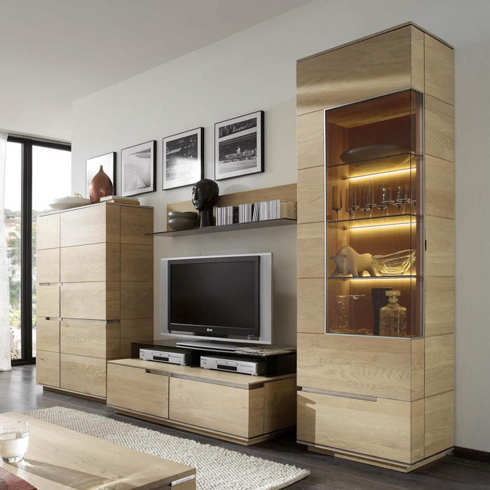 Wohnwand Eiche massiv 5-teilig Acerro Wohnkollektion