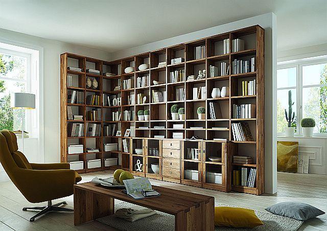 bibliohek massivholz Wildeiche Regalwand