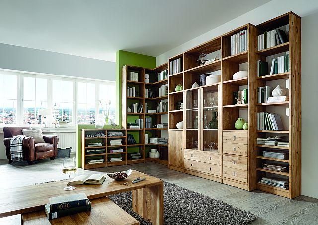 wohnwand bibliothek regalwand wildeiche massiv