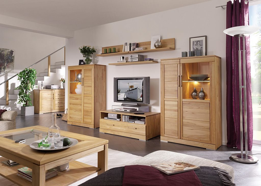 casera wohnzimmer anbauwand kernbuche massivholz