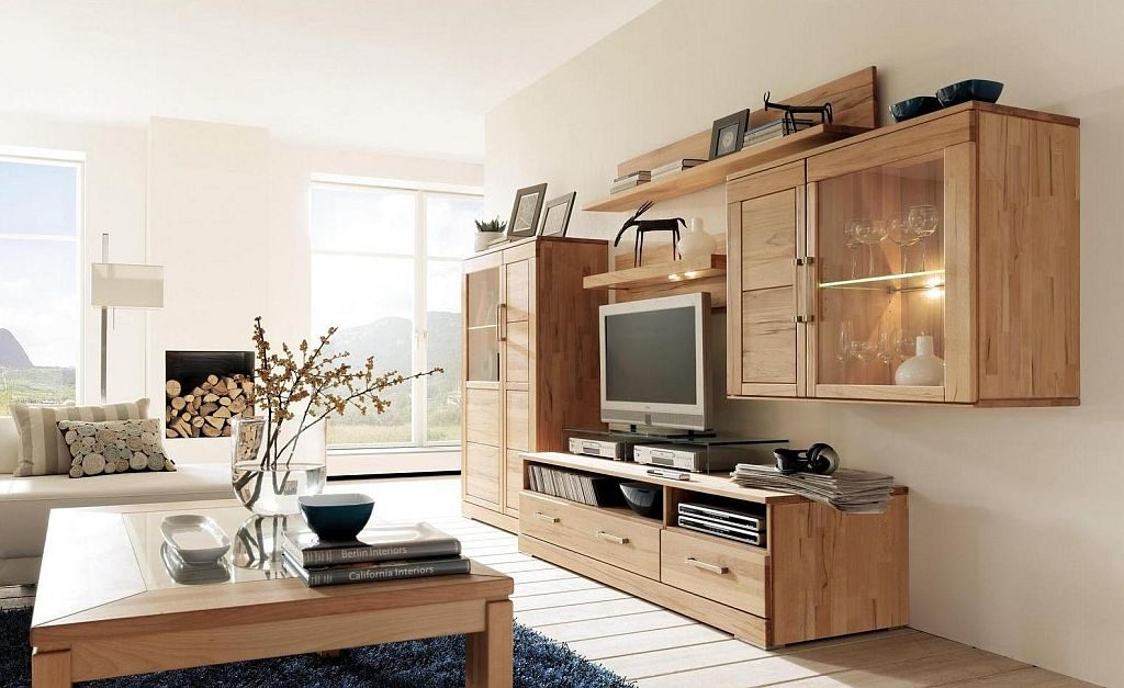 anbauwand casera wohnzimmer massivholz kernbuche geoelt