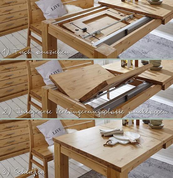 massivholztischg mit gestellauszug kiefer gebeizt und lackiert
