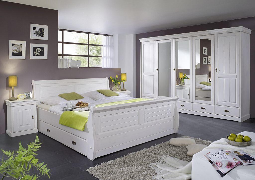 massivholz doppelbett in weiß mit schubladen 180x200