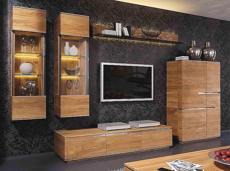 Wohnzimmerwand Aus Rustikaler Asteiche Massiv