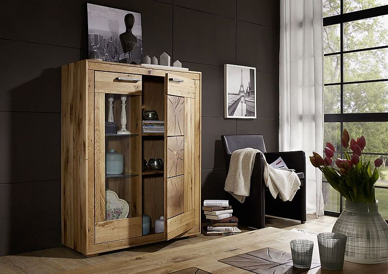 wildeiche rustikale highboard