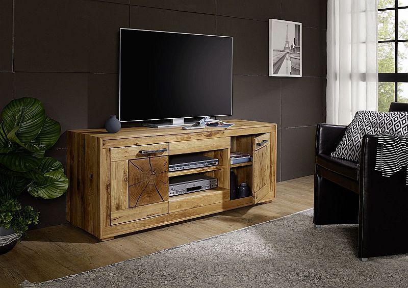 rustikaler tv schrank wildeiche massiv mit 2 faechern mittig und tueren rechts und links außen