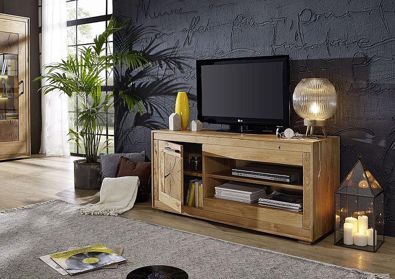 tv bank aus wildeiche massivholz rustikal mit 2 faechern und einer tuer links