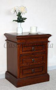 Nachttisch, Kolonialstil, Pappel,Nussbaum ,braun