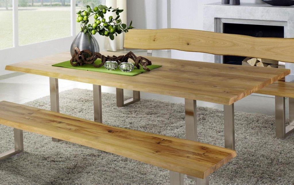 Massivholz Esstisch Holztisch Zingst mit natürlicher Baumkante und Metallfüßen