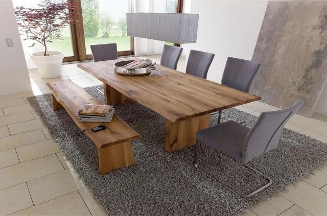 Massivholz Tisch Esstisch Esszimmertisch Holztisch Wangentisch mit Holzfüßen und natürlicher Baumkante