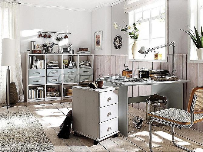 massivholz vollholz echtholz arbeitszimmer büromöbel kiefer masiv weiss lackiert