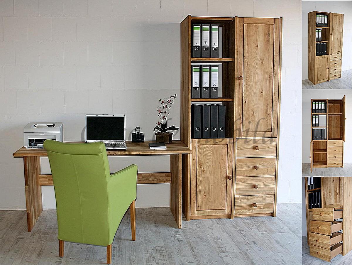 massivholz echtholz naturholz arbeitszimmer büroeinrichtung wildeiche asteiche geölt schreibtisch aktenschrank