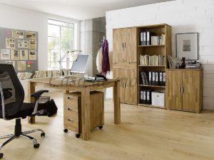 massivholz büroeinrichtung büromöbel eiche natur geölt schreibtisch aktenschrank rollcontainer