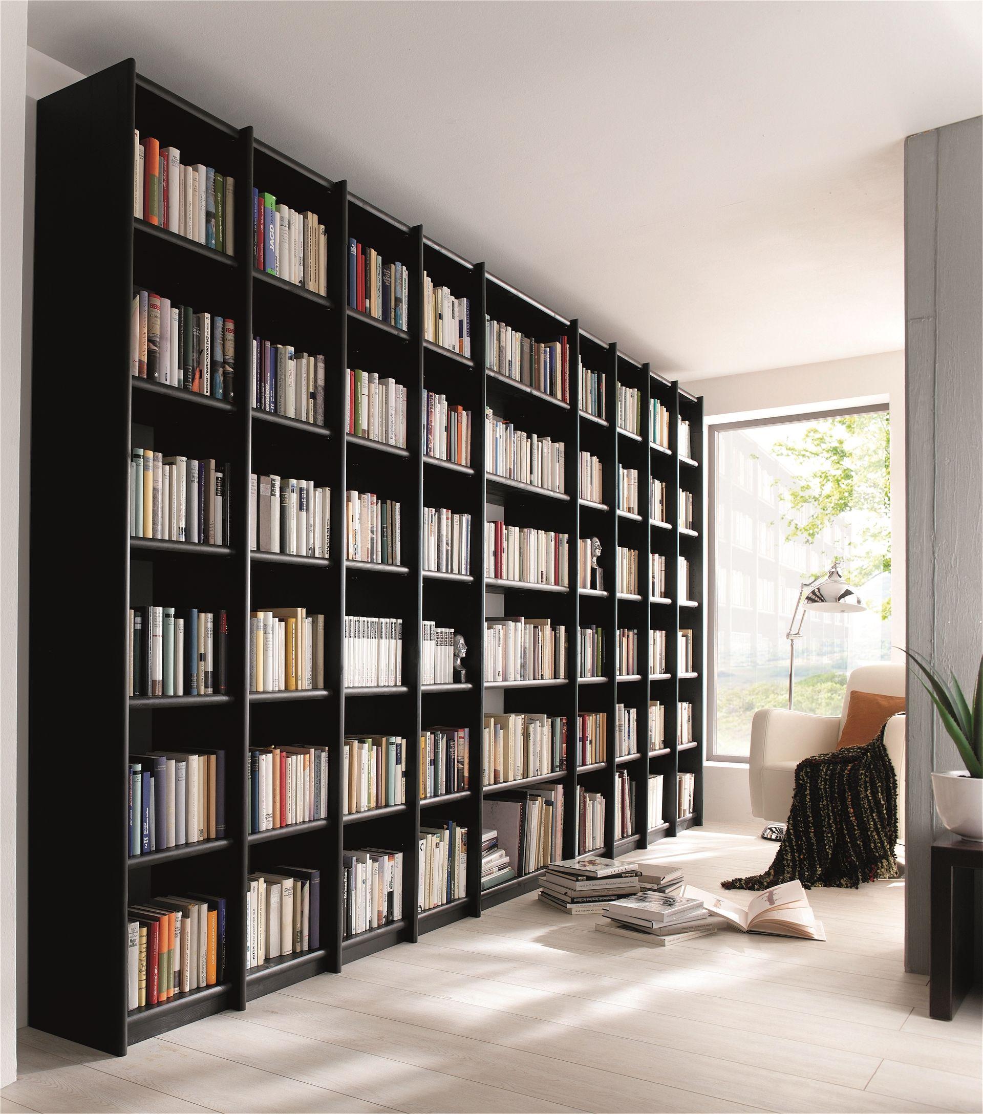 massivholz echtholz vollholz bücherregal kiefer massiv aktenregal bibliothek contra schwarz lackiert