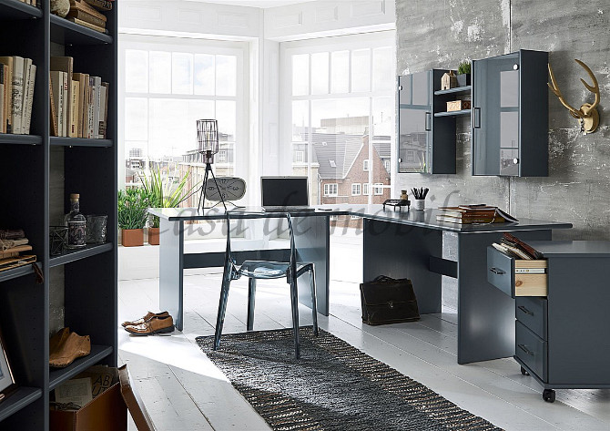 massivholz echtholz naturholz büroeinrichtung arbeitszimmer kiefer grau lackiert